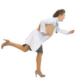 Full length portrait of running doctor woman. Full length portrait of running medical doctor woman royalty free stock photography