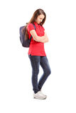 Full length portrait of a sad schoolgirl with a backpack Stock Photos
