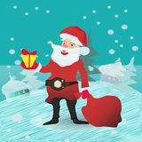 Full length portrait of a Santa Claus posing near bag gifts Stock Images