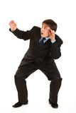 Full length portrait of scared young businessman Stock Photo