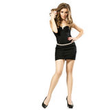 Full Length Portrait of a Sexy Blonde Woman in Little Black Fash Royalty Free Stock Photography