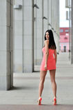 Full length portrait of a sexy brunette woman in little pink fas Royalty Free Stock Images