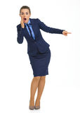 Full length portrait of shocked business woman Royalty Free Stock Photos