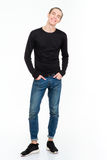 Full length portrait of a smiling casual man Royalty Free Stock Images
