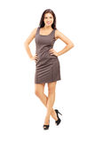 Full length portrait of a smiling fashionable woman in dress pos Royalty Free Stock Photo