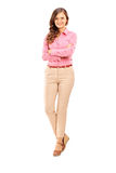 Full length portrait of a smiling female posing Royalty Free Stock Photography