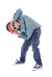 Full length portrait of smiling little boy in jeans royalty free stock photo