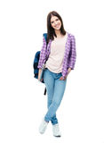 Full length portrait of a smiling young woman Stock Photo