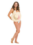 Full length portrait of smiling woman in swimsuit Royalty Free Stock Photography