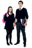 Full length portrait of students in uniform Stock Images