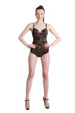 Full length portrait of a stunning young lady posing in lingerie Royalty Free Stock Photography