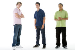 Full Length Portrait Of Teenage Boys. On A White Background stock images
