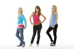 Full Length Portrait Of Teenagers. Looking At Camera stock photos