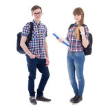 Full length portrait of teenagers with backpacks isolated on whi Stock Photos