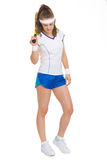 Full length portrait of tennis player with racket Stock Image