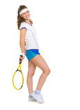 Full length portrait of tennis player with racket Stock Photography