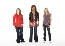 Full Length Portrait Of Three Teenage Girls Royalty Free Stock Photography