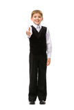 Full-length portrait of thumbing up little businessman Stock Images
