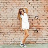 Full length portrait of trendy hipster girl Stock Photography