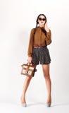 Full Length Portrait of Trendy Hipster Girl.  Urban Fashion Concept. Stock Image