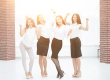 Full-length portrait of the triumphant business team.teamwork royalty free stock images