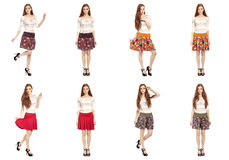 Full length portrait of twins in skirts isolated on white Stock Photos