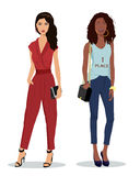 Full-length portrait of two beautiful young girls wearing colorful stylish clothes. Fashion illustration. Royalty Free Stock Photos