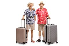 Two elderly tourists with suitcases Royalty Free Stock Images