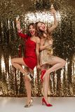Full length portrait of two excited pretty girls Royalty Free Stock Photo