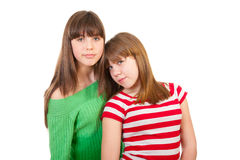 Full-length portrait of two girls Stock Photos