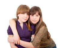 Full-length portrait of two girls Royalty Free Stock Image