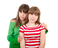 Full-length portrait of two girls Stock Image