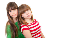 Full-length portrait of two girls Royalty Free Stock Photo