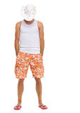 Full length portrait of on vacation man in hat Royalty Free Stock Image