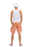 Full length portrait of on vacation man in shorts Royalty Free Stock Photography