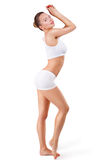 Full length portrait. Weight loss concept. Beautiful fitness model with perfect skin. Full length body portrait of woman with perfect skin and slim body stock photos