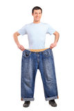 Full length portrait of a weight loss male Royalty Free Stock Images