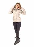 Full length portrait of woman in jacket isolated Royalty Free Stock Photo