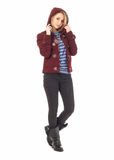 Full length portrait of woman in jacket isolated Royalty Free Stock Photos