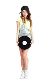 Full  Length Portrait of Woman in Kepi and Jeans with Vinyl Record Royalty Free Stock Image
