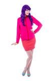 Full length portrait of woman in pink with purple hair isolated Stock Photo