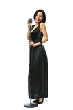 Full-length portrait of woman singer Royalty Free Stock Image