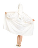 Full length portrait of woman taking off bathrobe Stock Photo