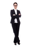 Full length portrait of young beautiful business woman isolated Royalty Free Stock Photography