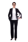 Full length portrait of young beautiful business woman with socc. Er ball isolated on white background Royalty Free Stock Image