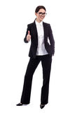 Full length portrait of young beautiful business woman thumbs up Royalty Free Stock Photos
