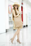 Full length portrait of young beautiful shopper woman royalty free stock photos