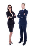 Full length portrait of young business man and business woman in Royalty Free Stock Photos