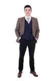 Full length portrait of young businessman posing isolated on whi. Te background Stock Image