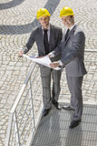 Full length portrait of young businessmen with blueprint on stairway Stock Photos